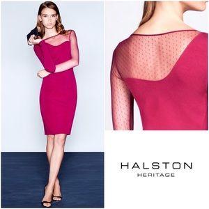 Halston Heritage Mesh Illusion Sheath Dress